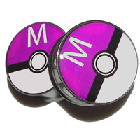 "Masterball Plugs - 1 Pair (2 plugs) - Sizes 8g to 2"" - Made to Order"