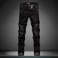 Men's Fashion Rinsed Denim Metal Skull Jeans [164468097053]