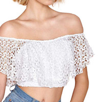 White Ruffle Off-Shoulder Lace Crop Top