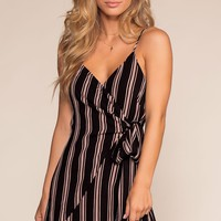 Central Park Striped Dress - Black