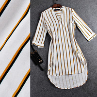 V-Neck Vertical Stripes High Low Mini Dress