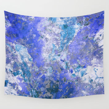 Cornflower Blue Abstract Painting Wall Tapestry by TigaTiga Artworks
