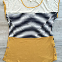 Bree Stripe Short Sleeve Top - Mustard