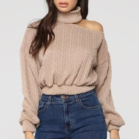 Cut Me Off Sweater - Taupe