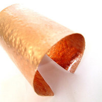 Very wide copper cuff, artisan hammered copper arm band, unisex jewelry