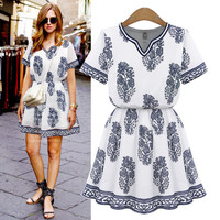 Vintage Print Round Split Neck Elastic Waist Swing Mini Dress