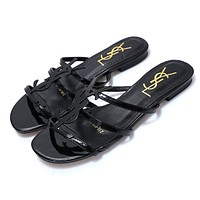 Wearwinds YSL  new classic patent leather word with metal buckle open toe fashion flat female slippers shoes Black