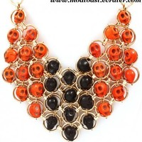 Skull Bib Necklace Orange Black Gold Statement Day of the Dead Dia de Los Muertos