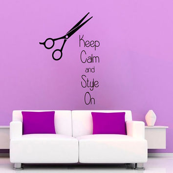 Hair Salon Wall Decals Fashion Words Keep Calm And Style On Hairdressing Beauty Salon Scissors Vinyl Decal Sticker Home Art Wall Decor KG333
