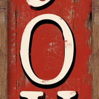 Joy distressed looking wooden handmade red sign framed out in wood.  Approx. 7.5x 13.5x.3/4 inches.