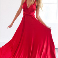 Red V-Neck Strapy S-Line Maxi Dress