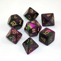 Set of 7 Chessex Gemini Green-Purple w/gold RPG Dice - Game Master Dice