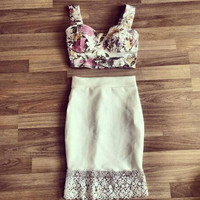 shoulder strap embroidered lace two-piece