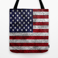 USA Grunge Flag Tote Bag by Alice Gosling