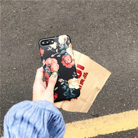 Retro 3D Rose Floral Case for iPhone 7 7plus IMD Quality Soft Case for iPhone 6 6s 6plus 6splus TPU Cover Oil Painting Style -0325