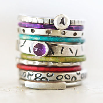 Stacking Rings / Stacking Rustic Rings Paired with our Moroccan Glow Patina Colors / Silver Purple Green Red Blue