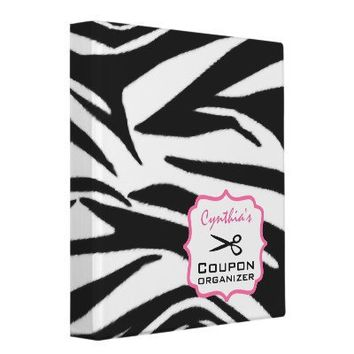 Personalized Coupon Organizer - Zebra Print & Pink 3 Ring Binders from Zazzle.com