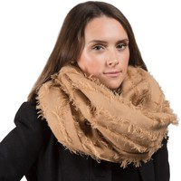 Tan Oversized Frayed Scarf