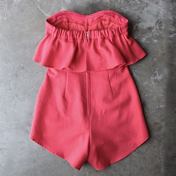 Final Sale - Ruffled Strapless Romper in Red