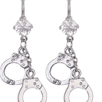 New Charming Dangle Crystal Navel Belly Ring Bling Barbell Button Ring Piercing Body Jewelry = 4651261252