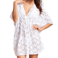 Boho Style Lace Loose Cover-up Smock Beach Dress