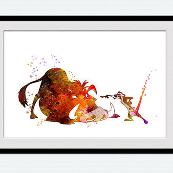 Timon and Pumba poster Disney watercolor print Lion king decor The Lion King colorful poster Home decoration Nursery room wall art W448