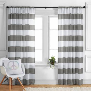 "Better Homes and Gardens Stripes Curtain Panel, Ashwood, 52"" x 84"""