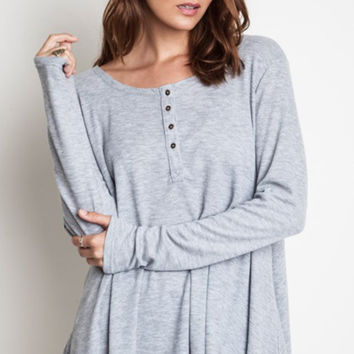 Thermal Knit Henley - Grey