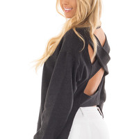 Black Open Back Sweater with Criss Cross Bands