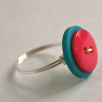 Neon Pink Blue Button Ring Wire Wrapped Custom Rings Available