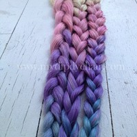 Pastel Tie Dye Hair Extensions/Triple Ombre Pink/Purple and Blue