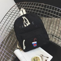 """""""You Can Be Anything"""" Cute Canvas Black Backpack"""