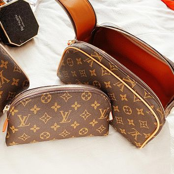 Louis Vuitton LV Women Leather Double Zipper Handbag Tote Cosmetic Bag Wallet Purse Set Two Piece