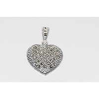 Marcasite Heart Pendant 23mm, .925 Sterling Silver