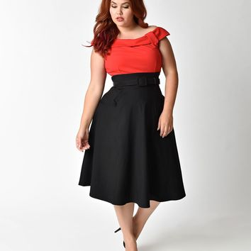 Unique Vintage Plus Size 1950s Black & Red Colorblock Tippi Swing Dress