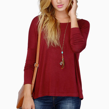 Wine Red Long Sleeve T-Shirt - 4 Colour