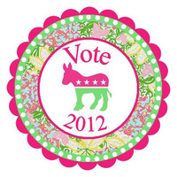 Vote Preppy Democrat Political Obama Round Labels Stickers for Party Favors, Gift Tags, Address Labels, Preppy Labels, Children