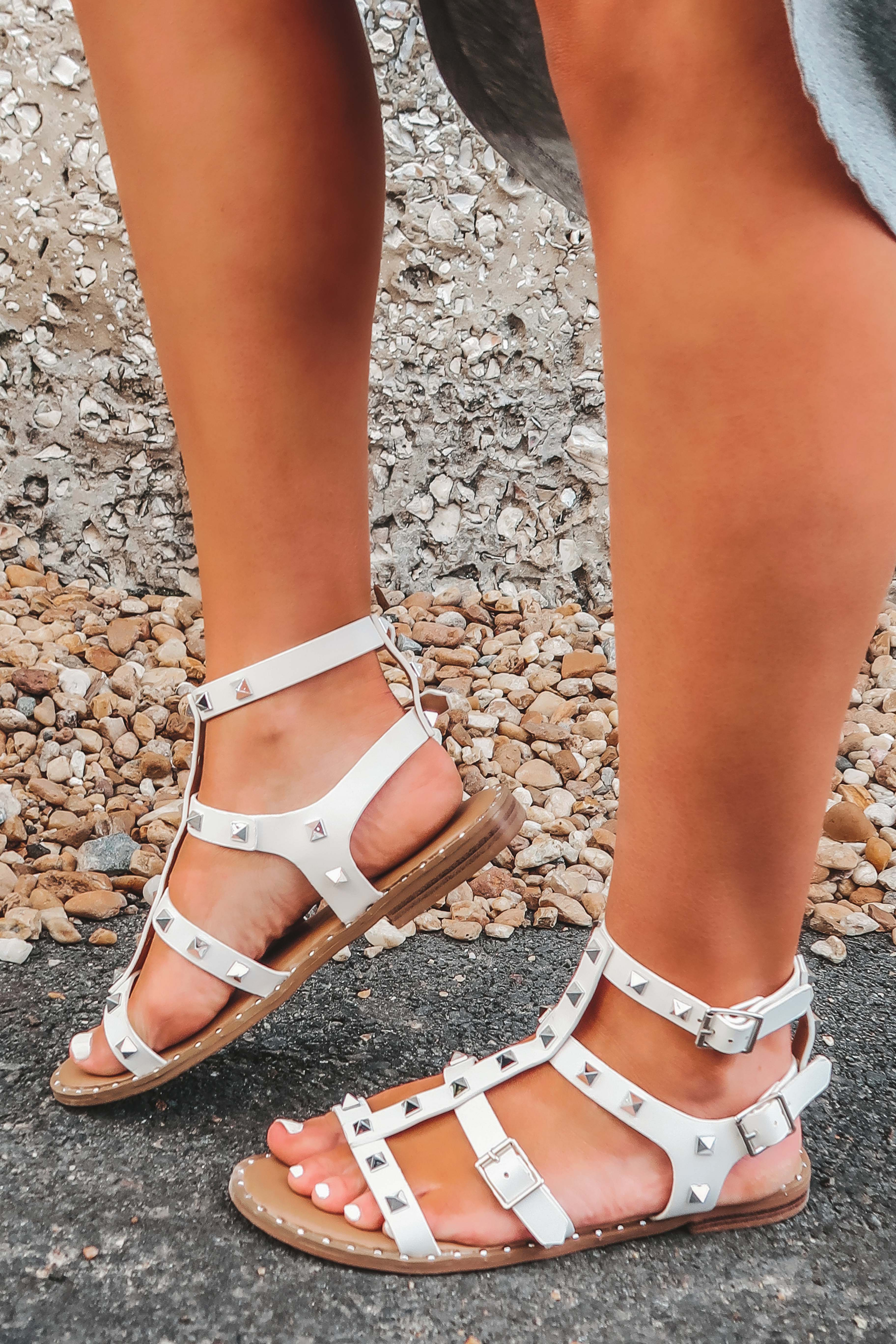 Image of Leave It All Behind Sandals: White/Silver