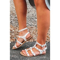 Leave It All Behind Sandals: White/Silver