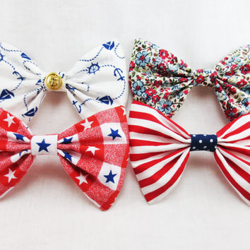 Fourth of July Hair Bow- Choose ONE bow from the Set - Red, White and Blue