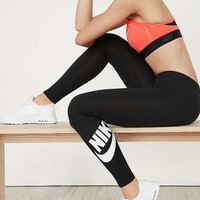 Nike Fashion Women Casual Print Exercise Fitness Gym Yoga Running Leggings Sweatpants Black