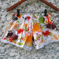 Cute Lace Trimmed Shorts Flora Art Paint Colorful Print Low Rise For Beach Summer Clothes Clothing Comfy For Girl Women Wear with Tank Top