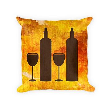Wine Duo Cotton Poly Throw Pillow