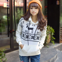 White Deer Print Long Sleeve Fleece Pullover Hoodie Sweatshirt