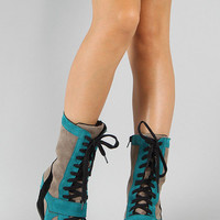 Breckelle Mid Calf Lace Up Sneaker Wedge