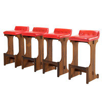 Set of 4 Brazilian Tufted Red Leather Bar Stools