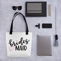 White Wedding Tote bag for your Bridesmaid - Bridesmaid