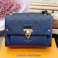 Louis Vuitton LV New Fashion Monogram Tartan Leather Crossbody Bag Shoulder Bag Women Blue