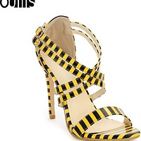 New summer single word with fish mouth thin heel high heel sandals for women shoes