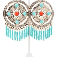 Circle Earrings with Stones and Beaded Fringe